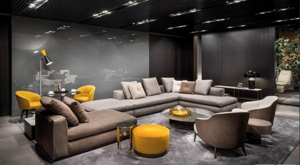 Gelbe Akzent-Farbe auf der imm 2018 von Minotti, Wohntrends 2018 wohnbuchbüro