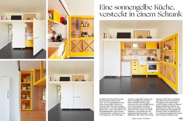 Schrankküche in sonnengelb. KitchenLiving_Herausgeber gestalten_Tessa Pearson