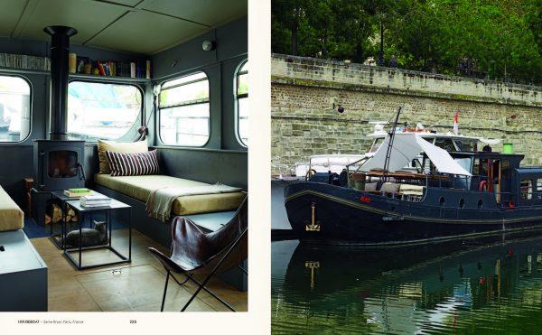 Hausboot auf der Seine - Die wohnbuchbüro-Rezension des Buchs »Rock the Boat«, herausgegeben von Gestalten: Verlag, 2017.